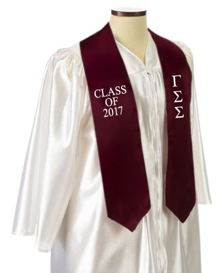 Gamma Sigma Sigma Classic Colors Embroidered Grad Stole