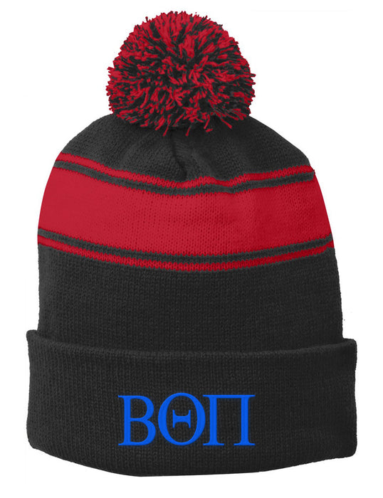 Beta Theta Pi Embroidered Pom Pom Beanie