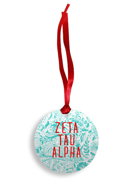 Zeta Tau Alpha Floral Pattern Sunburst Ornament