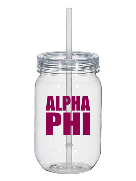 Alpha Phi Big Stacked Greek 25oz Mason Jar