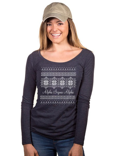 Alpha Sigma Alpha Holiday Snowflake Fitted Long-Sleeve Scoop Tee