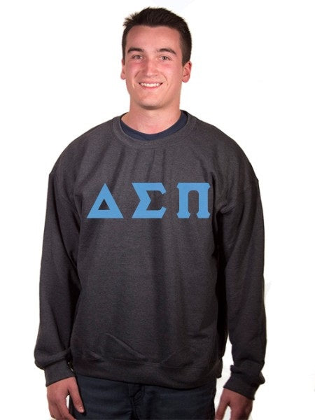 Delta Sigma Pi Crewneck Sweatshirt with Sewn-On Letters