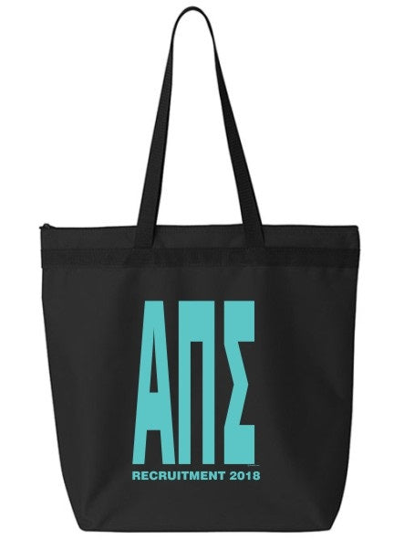 Alpha Pi Sigma Impact Letters Zippered Poly Tote