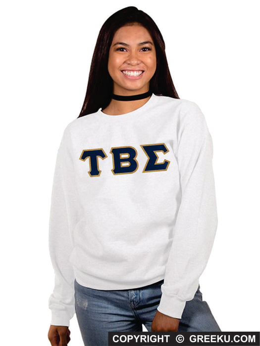 Tau Beta Sigma Classic Colors Sewn-On Letter Crewneck