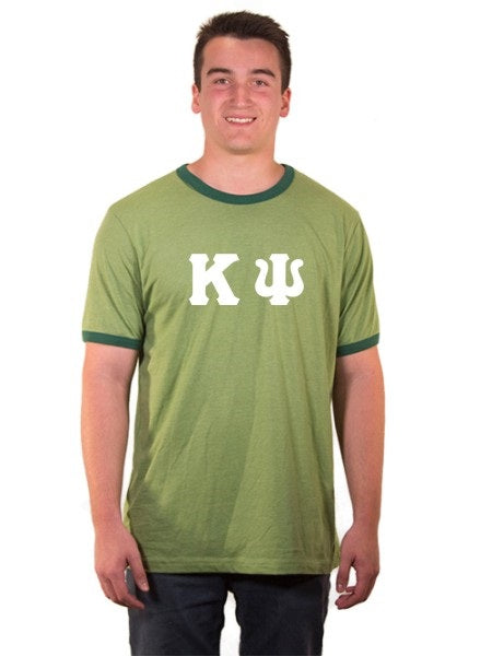 Kappa Psi Ringer Tee with Sewn-On Letters