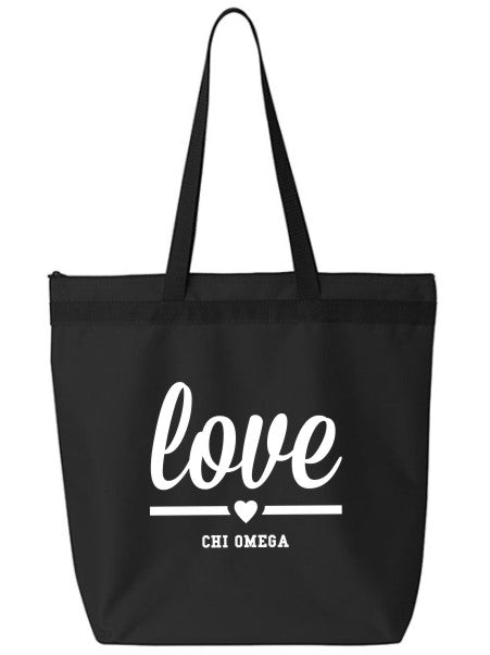 Chi Omega Love Tote Bag