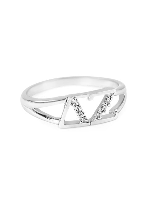 Delta Zeta Sterling Silver Ring with Lab Created Clear Diamond