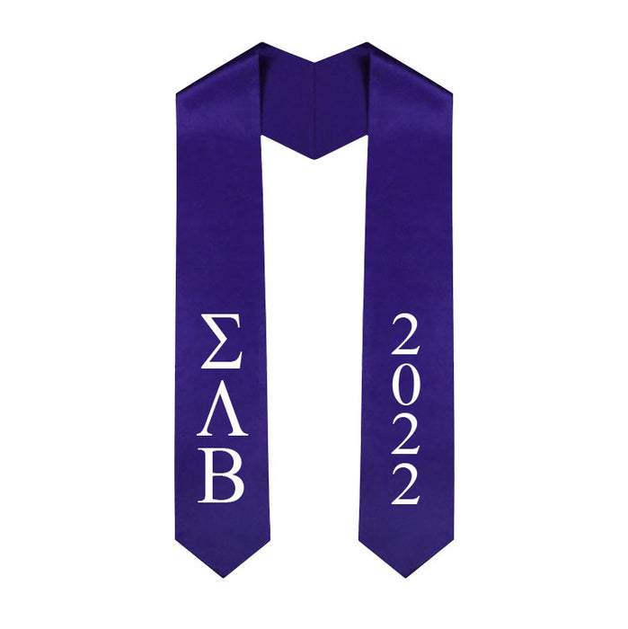 Sigma Lambda Beta Vertical Grad Stole with Letters & Year