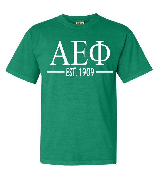 Alpha Epsilon Phi Comfort Colors Established Sorority T-Shirt