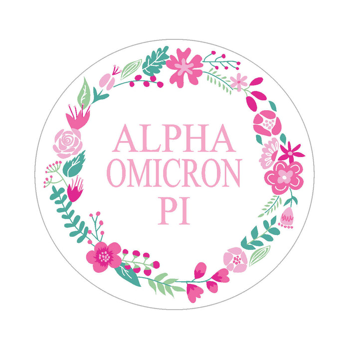 Alpha Omicron Pi Floral Wreath Sticker