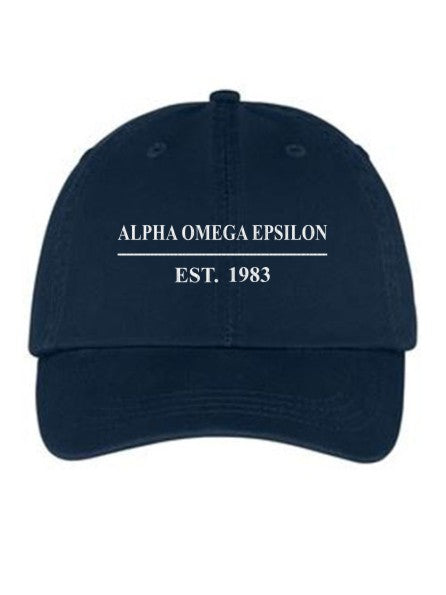 Alpha Omega Epsilon Line Year Embroidered Hat
