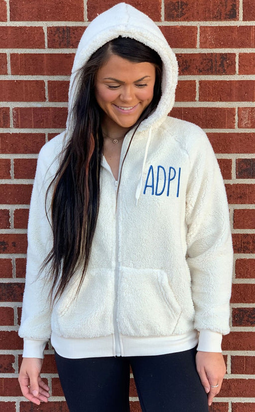 Alpha Delta Pi Sorority Full Zip Sherpa With Hood