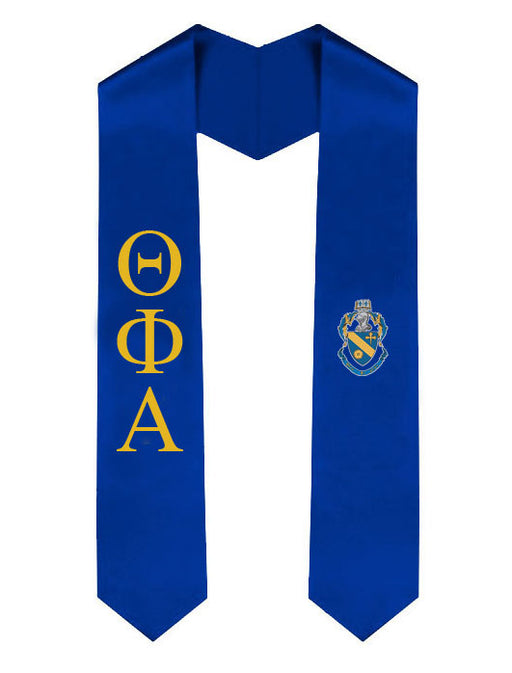 Theta Phi Alpha Lettered Graduation Sash Stole with Crest