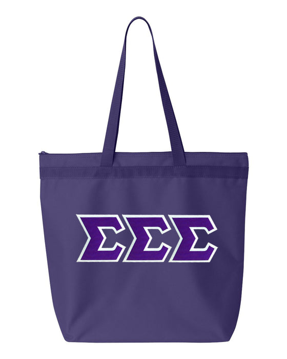Sigma Sigma Sigma Greek Lettered Game Day Tote