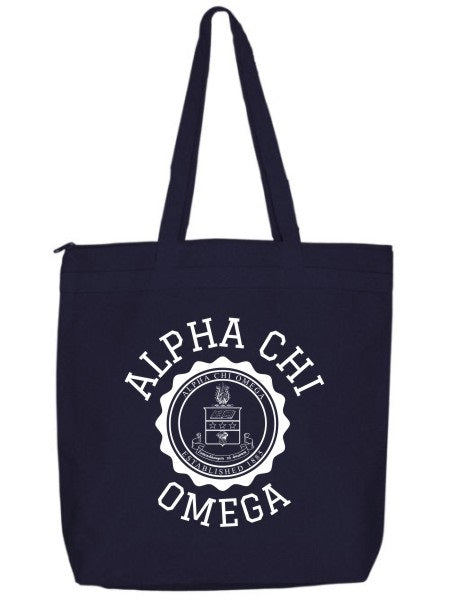 Alpha Chi Omega Crest Seal Tote Bag