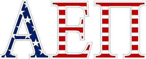 Alpha Epsilon Pi American Flag Letter Sticker - 2.5