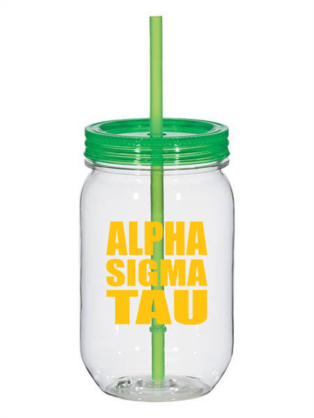 Alpha Sigma Tau Big Stacked Greek 25oz Mason Jar
