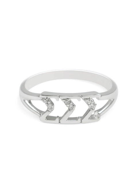 Sigma Sigma Sigma Sterling Silver Ring with Lab Created Clear Diamond