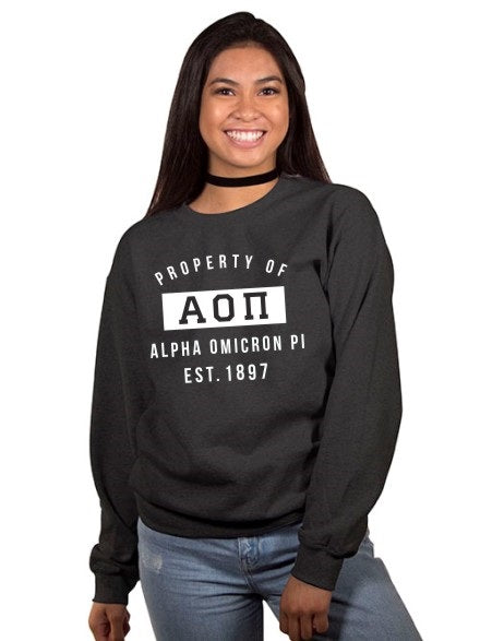 Alpha Omicron Pi Property of Crewneck Sweatshirt