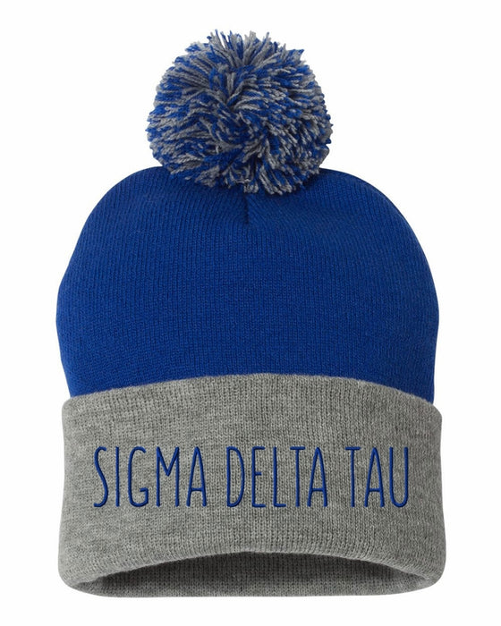 Sigma Delta Tau Sorority Beanie With Pom Pom
