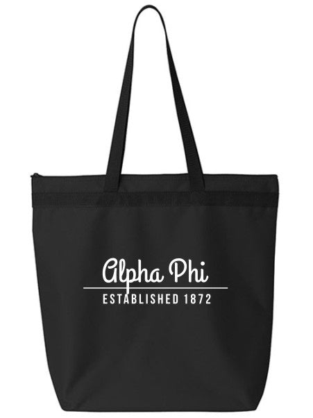 Alpha Phi Year Established Tote Bag