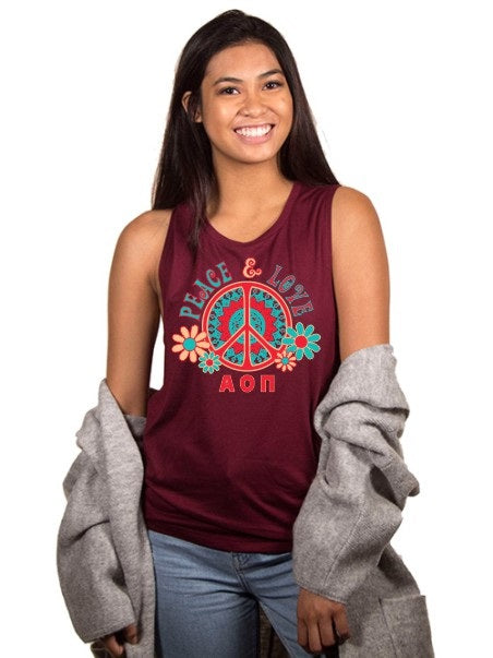 Alpha Omicron Pi Peace Sign Flowy Muscle Tank