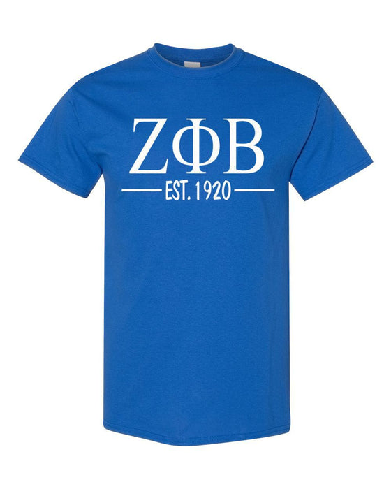 Zeta Phi Beta Comfort Colors Established Sorority T-Shirt