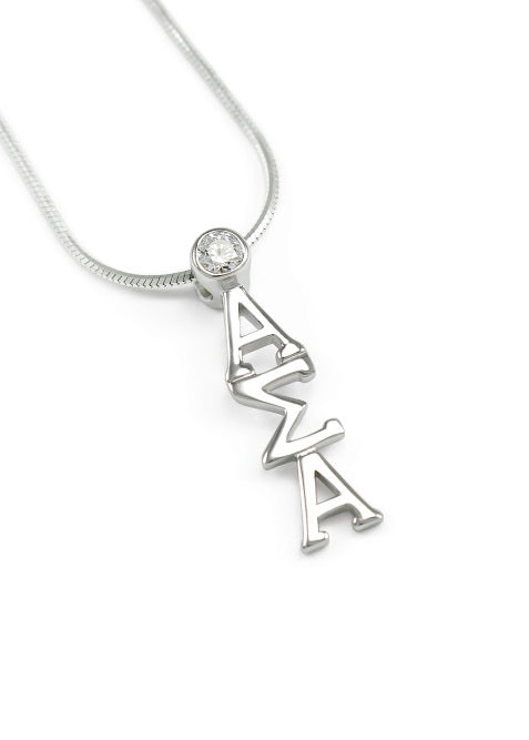 Alpha Sigma Alpha Sterling Silver Lavaliere Pendant with Clear Swarovski Crystal