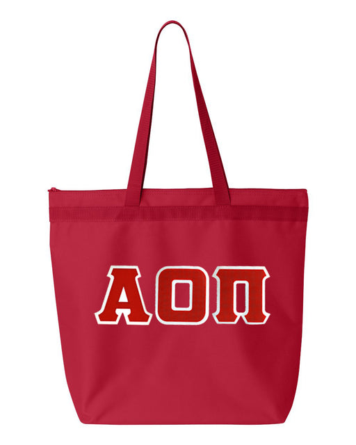 Alpha Omicron Pi Greek Lettered Game Day Tote