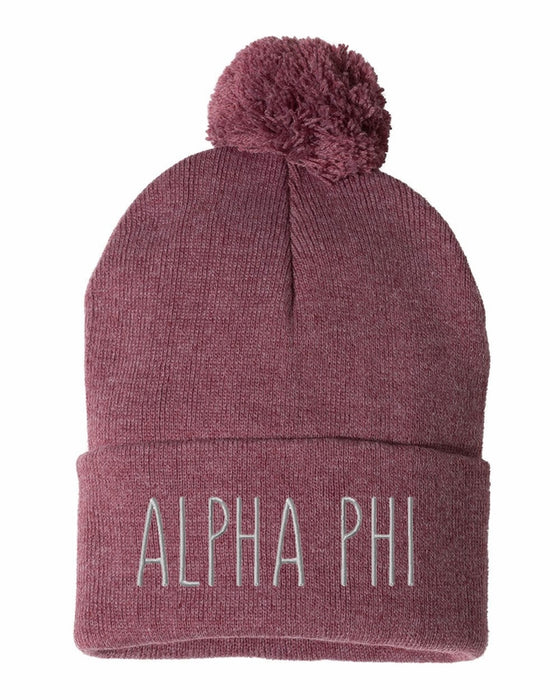 Alpha Phi Sorority Beanie With Pom Pom