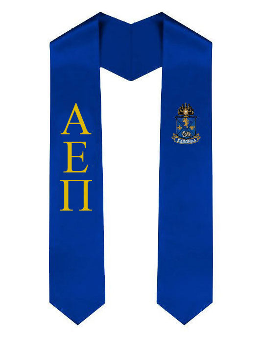 Alpha Epsilon Pi Lettered Graduation Sash Stole with Crest