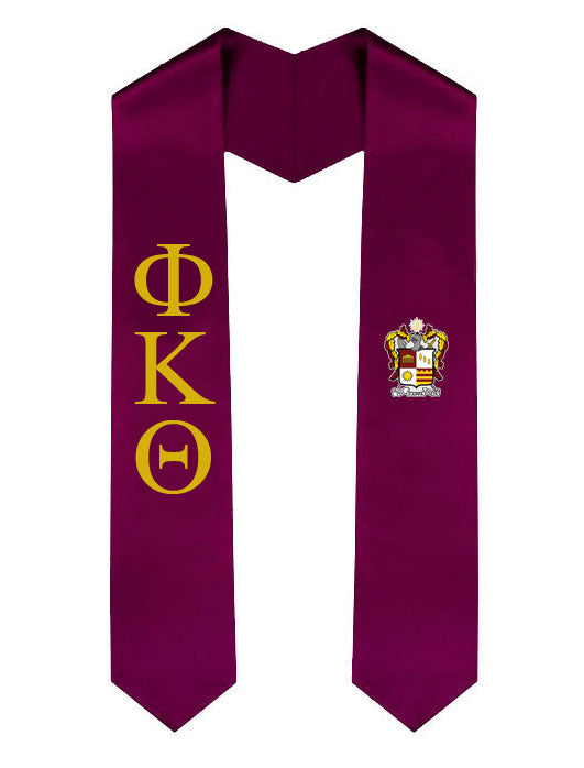 Phi Kappa Theta Lettered Graduation Sash Stole with Crest