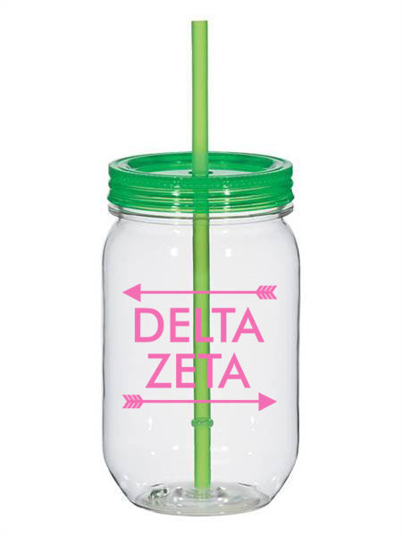 Delta Zeta Arrow Top Bottom 25oz Mason Jar