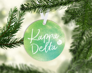 Kappa Delta Round Acrylic Watercolor Ornament