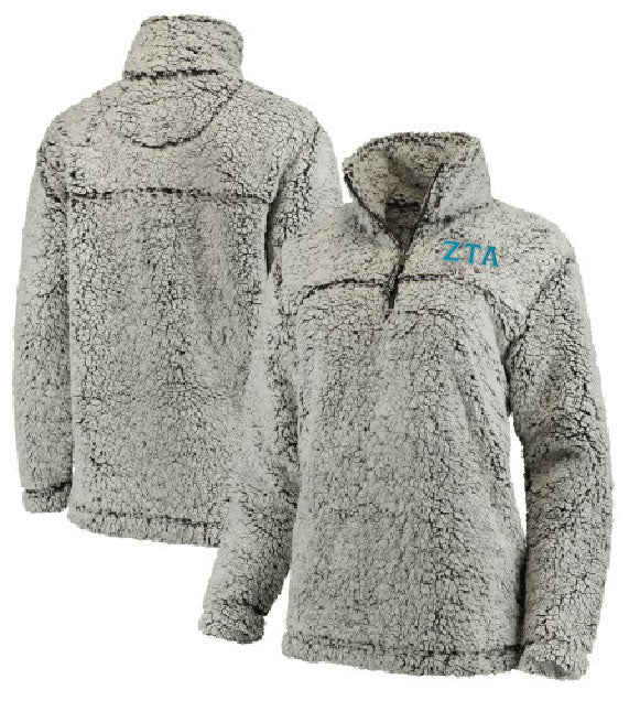Zeta Tau Alpha Embroidered Sherpa Quarter Zip Pullover
