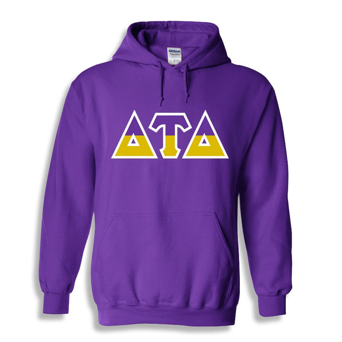 Delta Tau Delta Two Toned Lettered Hooded Sweatshirt