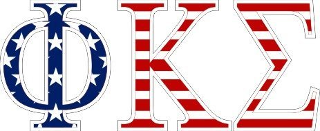 Phi Kappa Sigma American Flag Letter Sticker - 2.5