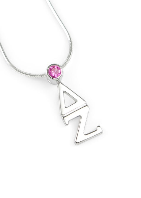 Delta Zeta Sterling Silver Lavaliere Pendant with Swarovski Crystal