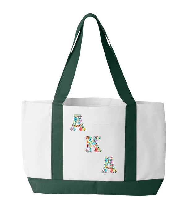 Alpha Kappa Alpha 2-Tone Boat Tote with Sewn-On Letters