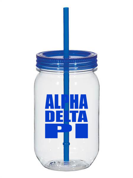 Alpha Delta Pi Big Stacked Greek 25oz Mason Jar