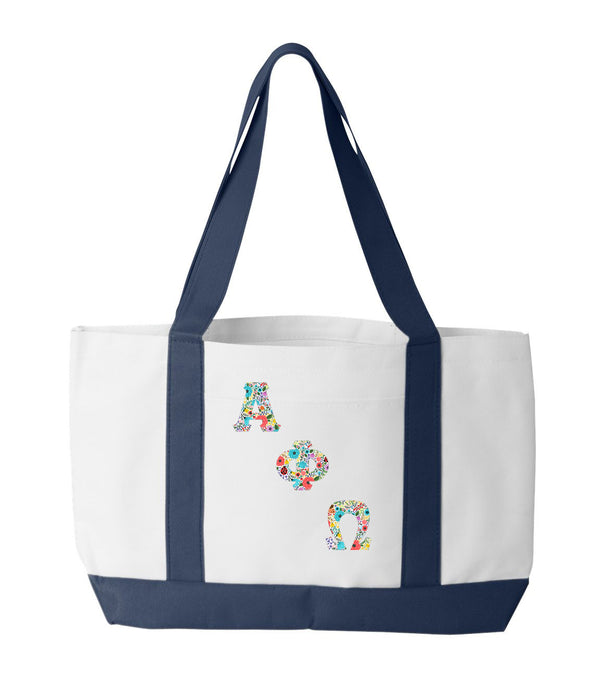 Alpha Phi Omega 2-Tone Boat Tote with Sewn-On Letters