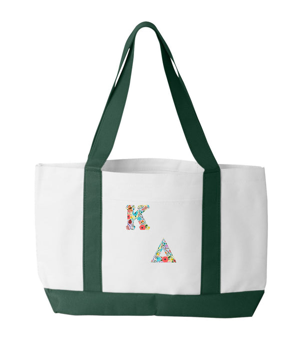 Kappa Delta 2-Tone Boat Tote with Sewn-On Letters