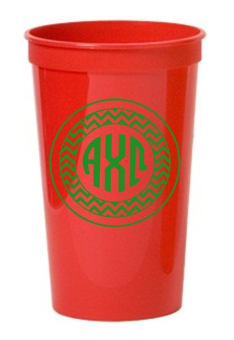 Alpha Chi Omega Monogram Giant Plastic Cup
