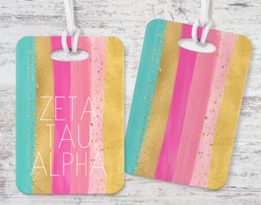 Zeta Tau Alpha Bright Stripes Luggage Tag