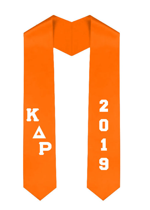 Kappa Delta Rho Slanted Grad Stole with Letters & Year