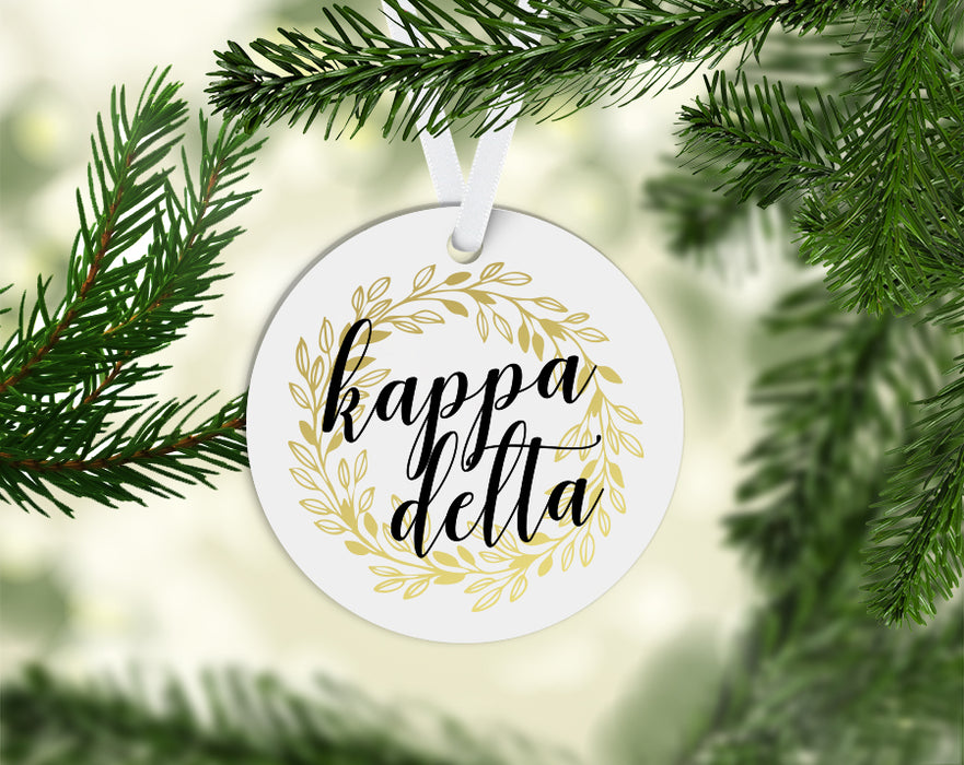 Kappa Delta Round Acrylic Gold Wreath Ornament