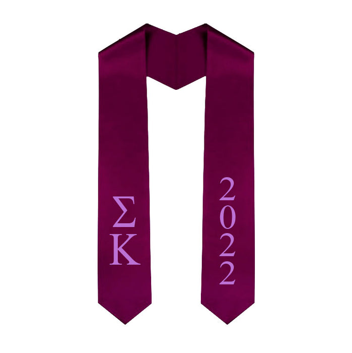 Sigma Kappa Vertical Grad Stole with Letters & Year