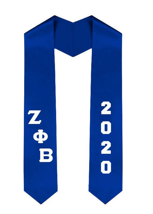 Zeta Phi Beta Greek Slanted Grad Stole with Letters & Year