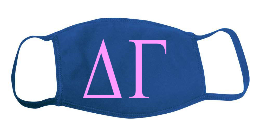Delta Gamma Face Mask With Big Greek Letters