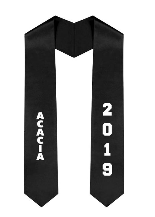 Acacia Slanted Grad Stole with Letters & Year